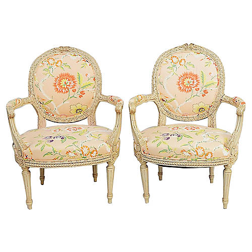 French Fauteiul Armchairs, Pair
