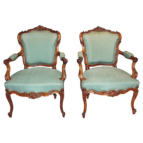 French Carved Fauteuils, S/2