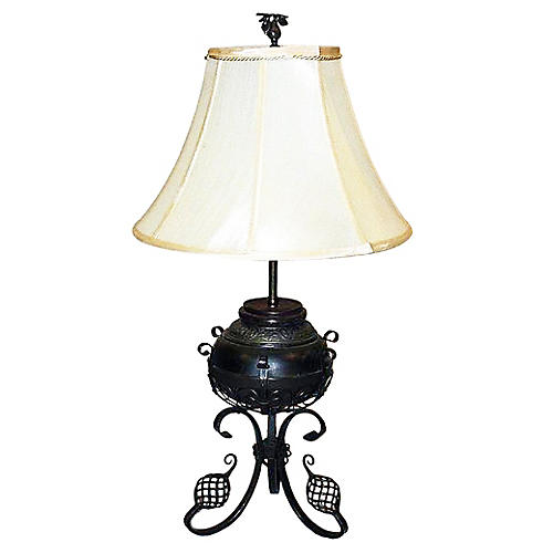 Wrought Iron & Brass Oil Lamp