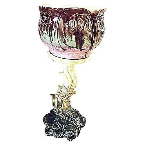 Art Nouveau Majolica Cachepot