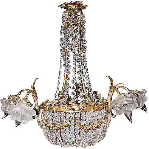 French Bronze Waterfall Chandelier