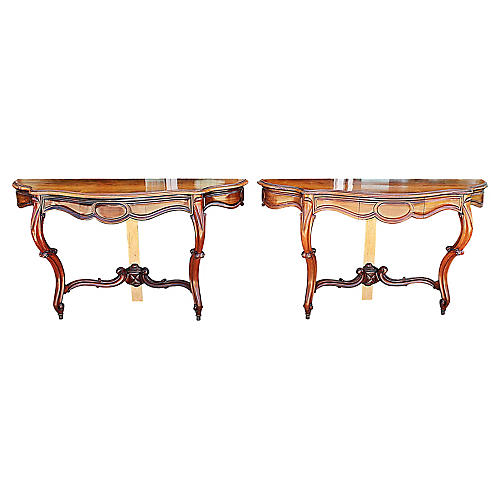 French Rosewood Wall Consoles, S/2