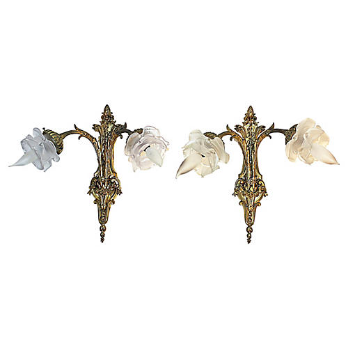 French Rococo Doré-Bronze Sconces, Pair