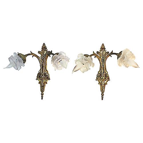 French Rococo Doré-Bronze Sconces, Pair