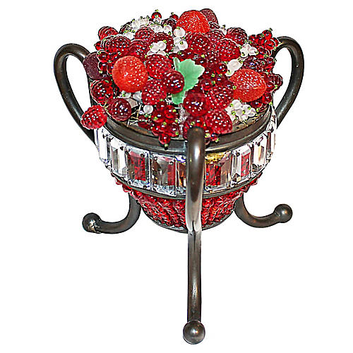 Czech Glass Fruit Basket Lamp