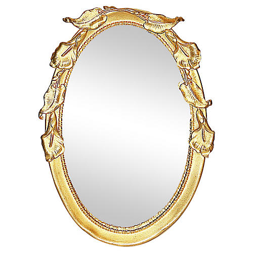Rococo Brass Miniature Desk Mirror Frame