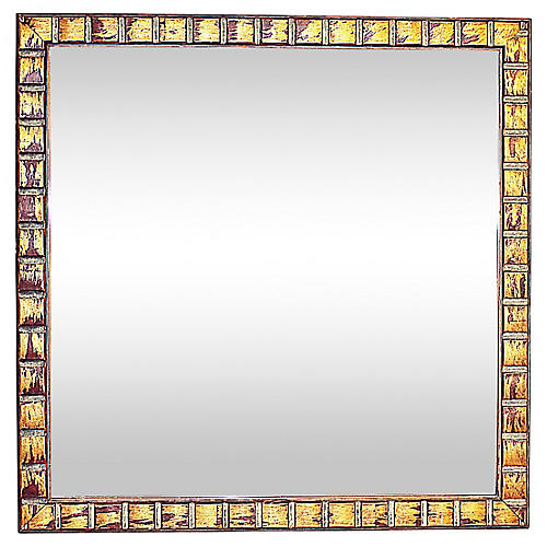 Copper Tone Square Mirror