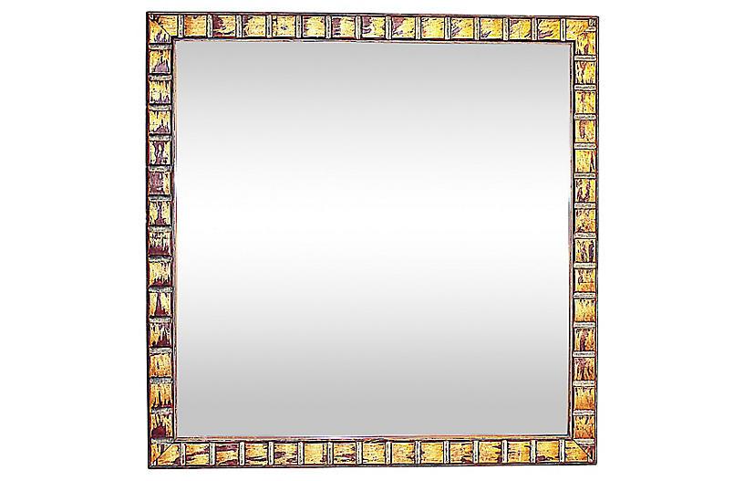 Copper Tone Square Mirror