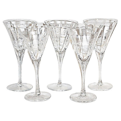 Mid-Century Etched Martini Glasses, S/5