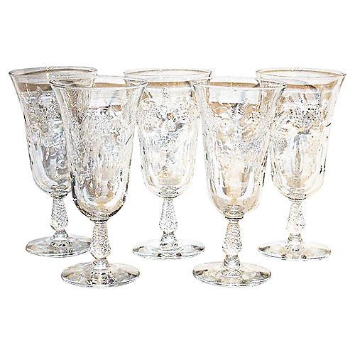 Hollywood Regency Water-Wine Glasses S/5