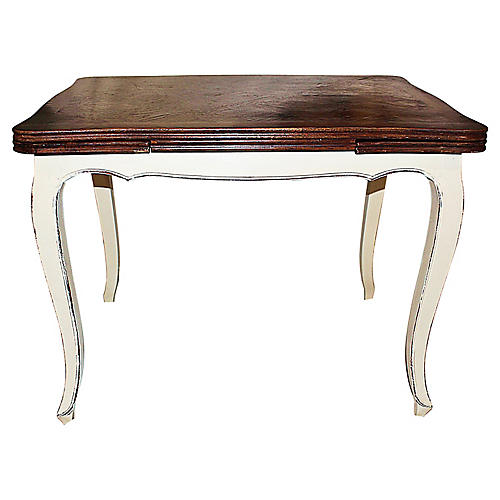 Petite Antique French Draw-Leaf Table