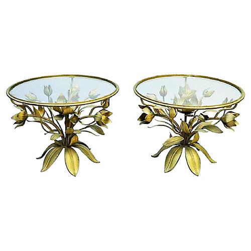 Italian Gilt Floral End Tables, Pair