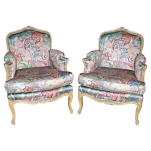Louis XV Style Bergere Armchairs, S/2