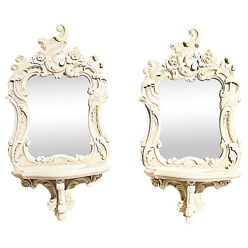 Venetian Bracket Mirrors, Pair