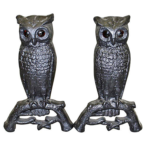 Figural Owl Andirons Chenets-Pair