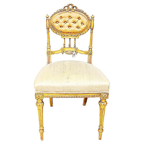 Antique French Parlor Vanity Chair