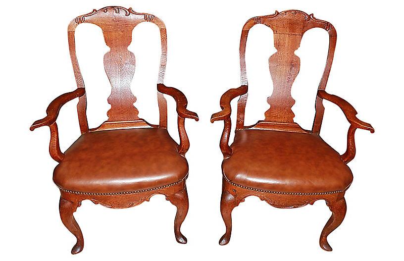 19th-C. Danish Armchairs, Pair