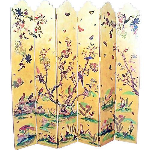 Six Panel Screen w/ Birds & Foliage