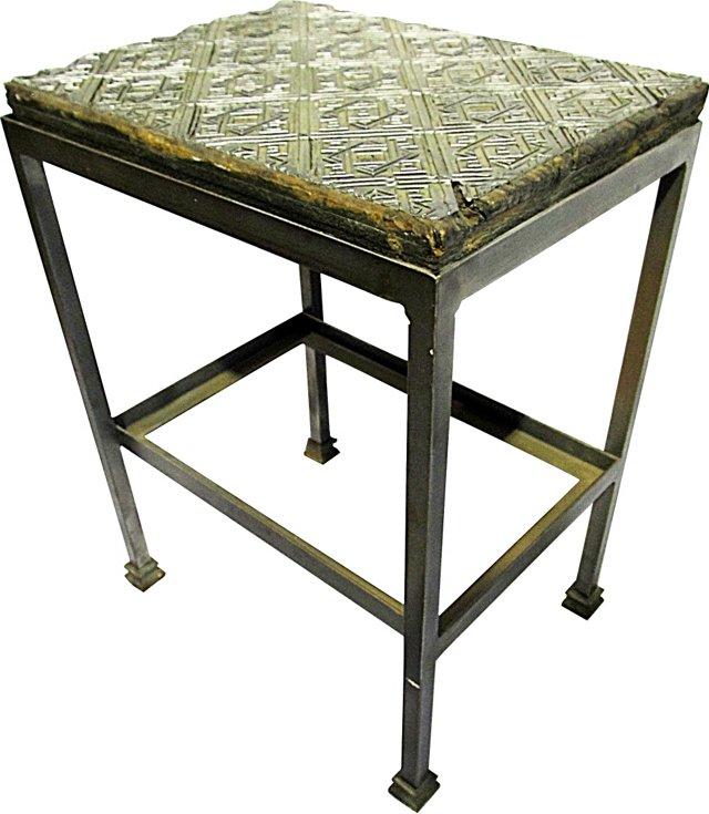 Antique Wallpaper-Print End Table