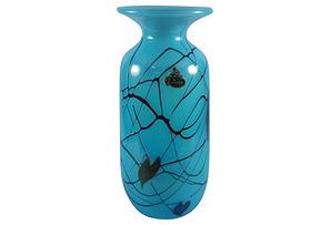 Midcentury Turquoise Hanging Hearts Vase