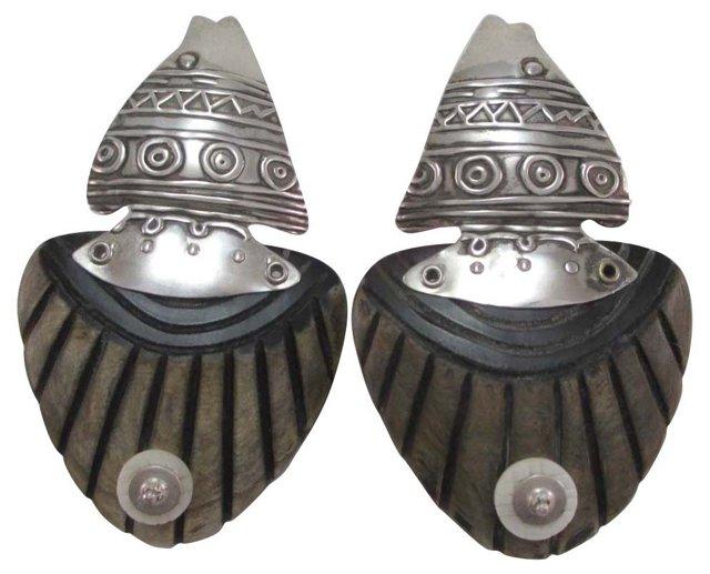 1980s Sterling & Horn Pierced Earrings