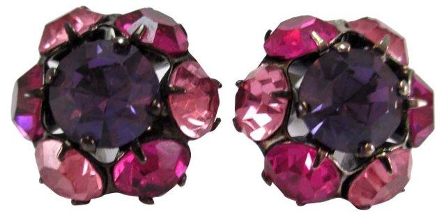 Jeweled Pink Lavender Earrings