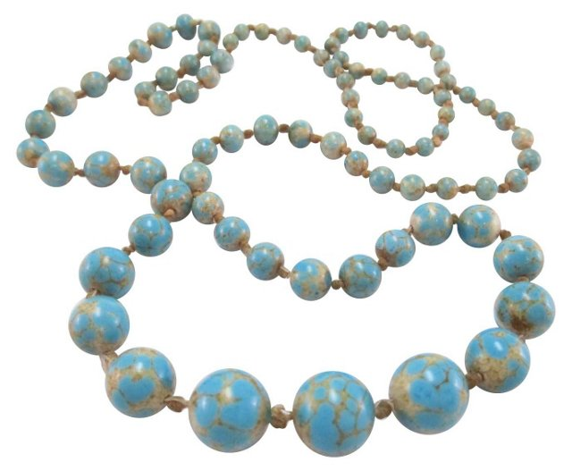 Marbled Blue Glass Bead Necklace