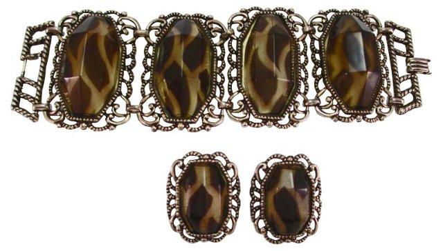 Animal-Print Lucite Bracelet & Earrings