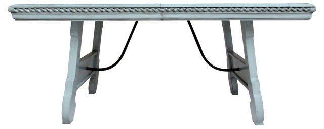 French Glazed Table w/ Iron Stretchers