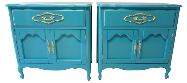 French-Style  Lacquered Chests, Pair