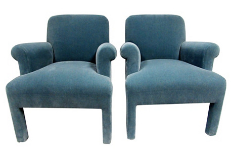 Mohair Armchairs by Angelo Donghia, Pair