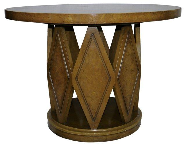 Round Burlwood Side Table