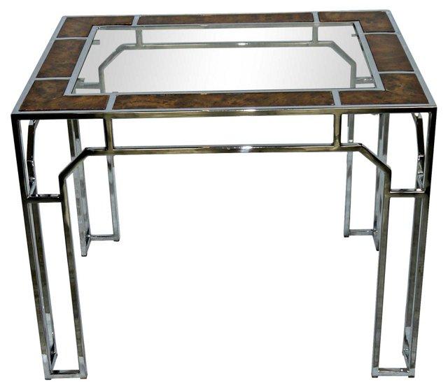 Chromed Steel &  Faux-Burlwood Table