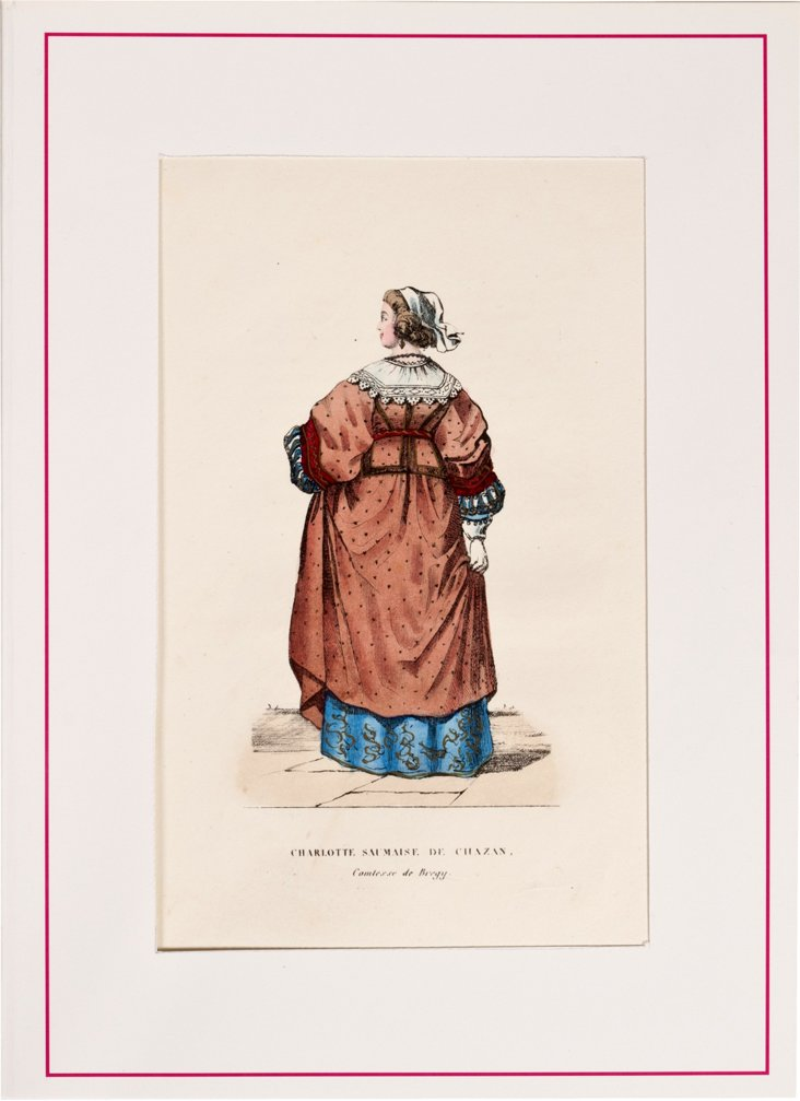 19th-C. French Hand-Tinted Lithograph