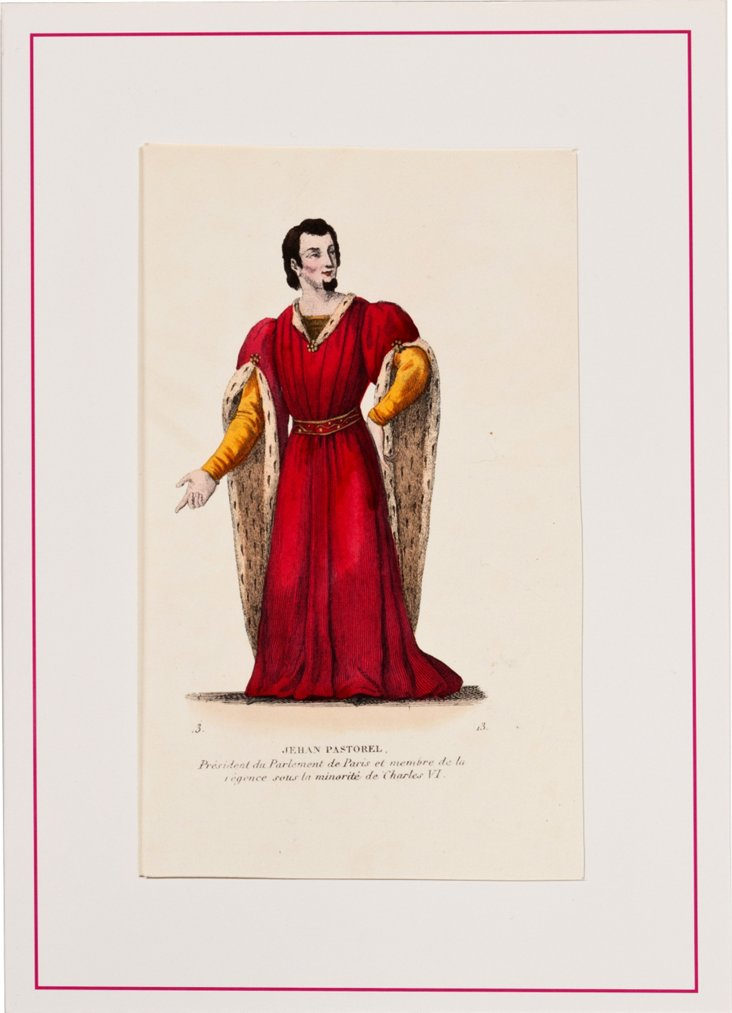 19th-C. Hand-Tinted Costume Lithograph