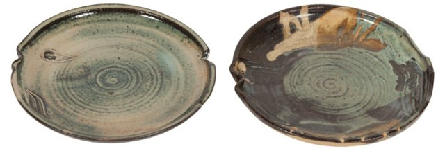Ceramic Fish Plates, Pair