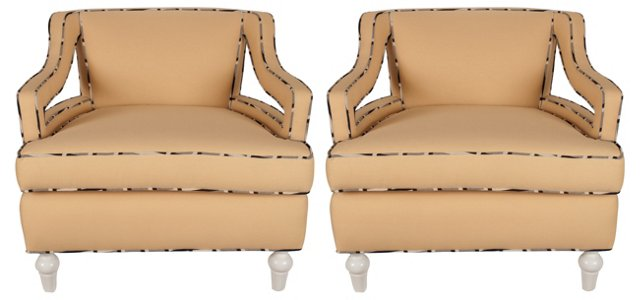 Hollywood Regency-Style Chairs, Pair