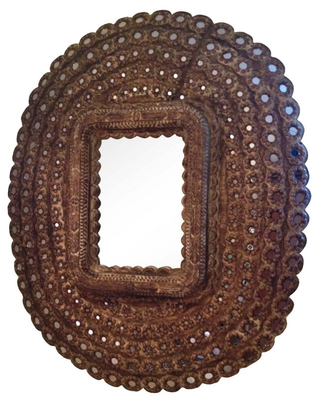Hand-Carved Moroccan Mirror