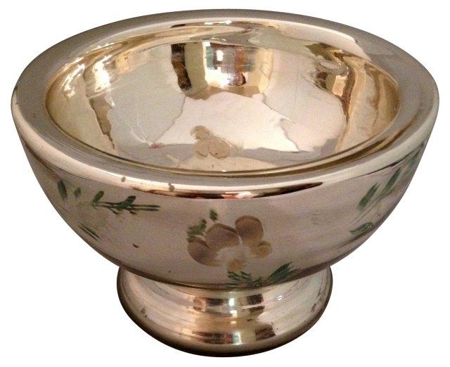 Hand-Painted Mercury Glass Bowl