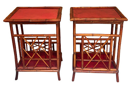 Red Bamboo Side Tables, Pair