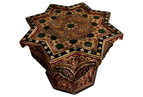 Hand-Carved Moroccan Side Table