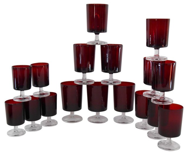 French Red Stemware, S/17