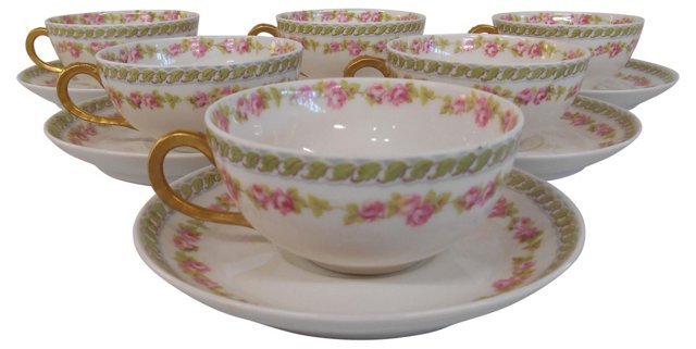 Limoges Cups & Saucers, Svc. for 6