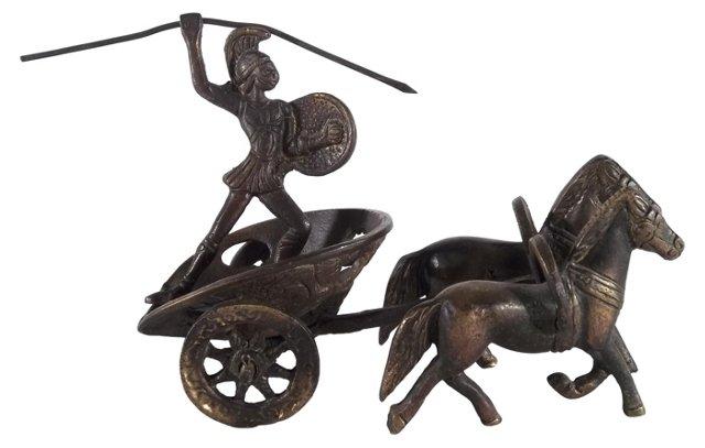 Brass Roman Soldier on Chariot