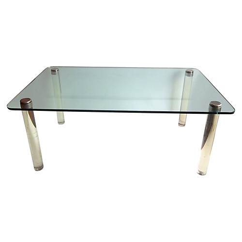 Lucite & Glass Dining Table