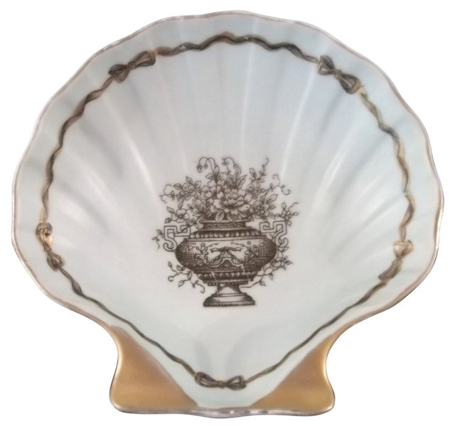 Shell Dish w/ Urn of Flowers