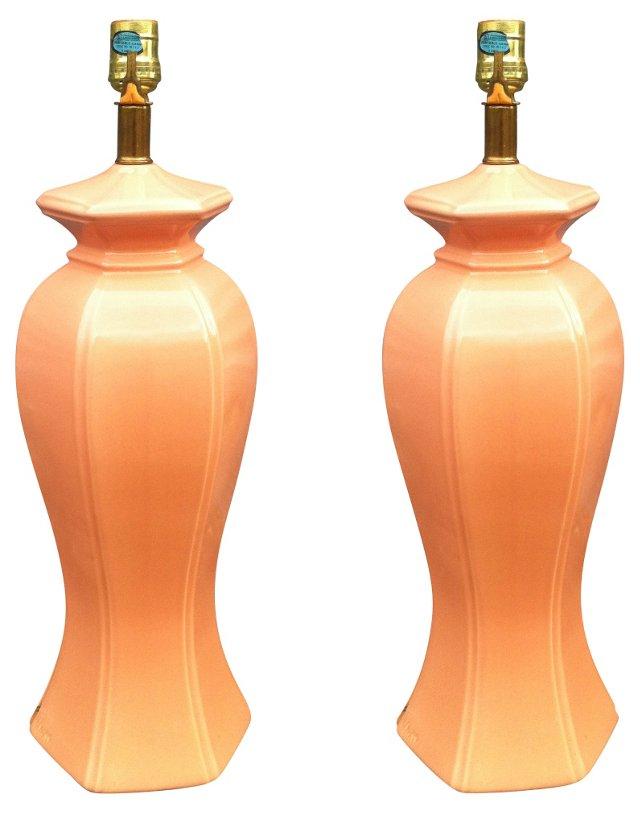 Cantaloupe Ginger Jar Lamps, Pair