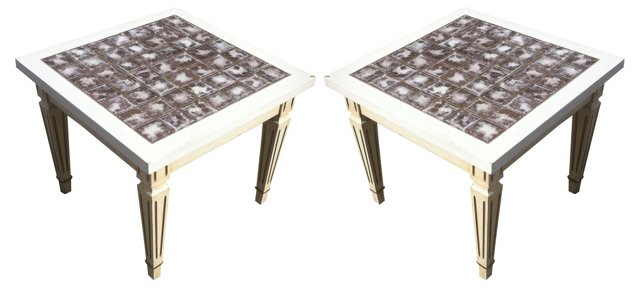 Tile Coffee Tables, Pair