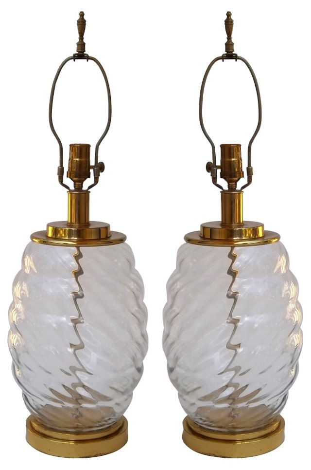 1960s Glass Lamps, Pair