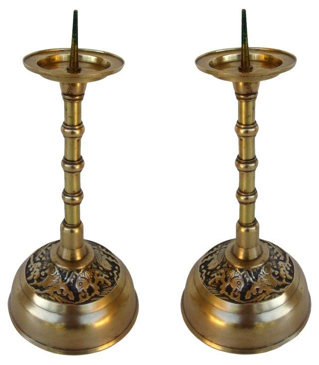 Brass Candlesticks w/ Koi Design, Pair